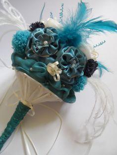 #Handmade #Fabric Teal #Wedding bouquet by Jenniferbarlow.co.uk