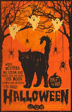 DIY Halloween Crafts and Decorations 2015 thrift store + Dollar Tree ideas. Heres a video to give you guys some ideas of inexpensive Halloween craftsdecorations that you can easily make yourself. Retro Halloween, Halloween Tags, Halloween Chat Noir, Vintage Halloween Cards, Halloween Prints, Holidays Halloween, Halloween Ghosts, Halloween Quotes, Halloween Printable