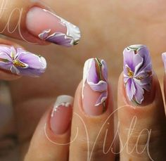 Floral Design on Clear or Light Nail Enamel