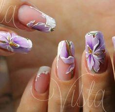 Floral Design on Clear or Light Nail Enamel Flower Nail Designs, Flower Nail Art, Cool Nail Designs, Great Nails, Fabulous Nails, Cute Nails, Spring Nails, Summer Nails, Nail Ink