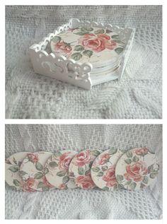 Podkładki pod kubki w ażurowym pudełku - motyw różany! Zdobione metodą decoupage :)  więcej na mojej stronie na fb (DecoupageGallery) zapraszam! :)