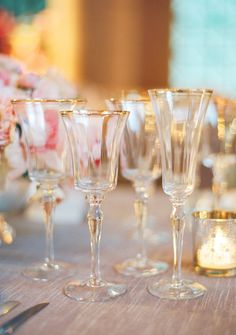 Glided goblets | #champagne, #glasses | Photography: Jose Villa Photography - josevillaphoto.com Event and Floral Design: Kathleen Deery Design - kathleendeerydesign.com Planning: Laurie Arons Special Events - lauriearons.com/  Read More: http://www.stylemepretty.com/southeast-weddings/2013/11/22/wedding-accessory-moments-round-up/