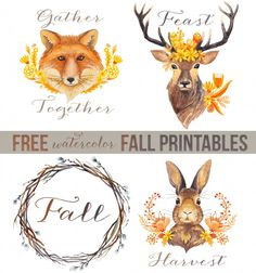 Woodland Watercolors + 35 Free Fall Printables - Unskinny Boppy
