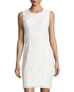 Milly Floral-Lace Sleeveless Sheath Dress, White, Women's, Size: 0, White Wht