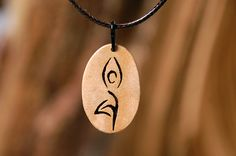 Yoga pendant Handmade wooden jewelry by Intarsia108 on Etsy