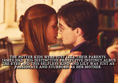 The Potter kids were just like their parents. James had this distinctive protective instinct, Albus the eyes and this selfless kind and Lily was just as passionate and stubborn as her mother. Harry Potter Movie Trivia, Harry Potter Couples, Harry Potter Feels, Harry Potter Ships, Harry Potter Quotes, Harry Potter Universal, Harry Potter Fandom, Harr Potter, Harry Potter Next Generation