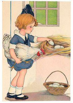 Ayudabamos mis hermanas y yo a recoger los huevos