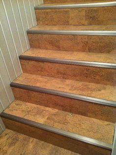 Cork Stair Treads with aluminum nosing Tile Stairs, Flooring For Stairs, Metal Stairs, Cork Flooring, Basement Flooring, Laminate Stairs, Engineered Hardwood Flooring, Hardwood Floors, Eco Friendly Flooring
