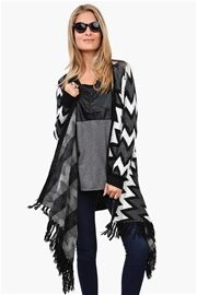 Wrap Poncho Sweater in Black