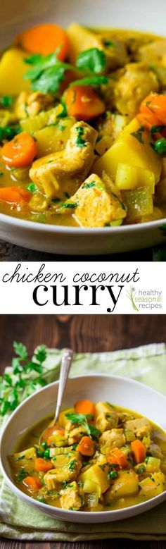 Chicken Coconut Curry on Healthy Seasonal Recipes | Clean Eating | Gluten-free