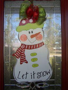 Christmas Snowman Let it Snow door hanging by por samthecrafter, $37,00