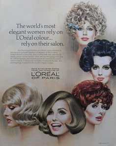 Loreal hair color it by carden Retro Mode, Mode Vintage, Vintage Ads, Vintage Posters, Vintage Advertisements, Beauty Ad, Beauty Shop, Hair Beauty, Vintage Makeup
