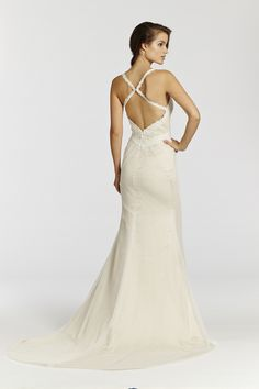 Style * AV7506 *  Bridal Gowns, Wedding Dresses  Ti Adora Spring 2015 Collection  by Alvina Valenta  Shown Ivory / Cashmere Point Esprit trumpet bridal gown with intricate embroidered lace accents on bodice. Sweetheart neckline with spaghetti straps and low open back. Pin-tucks throughout bodice and into skirt (back)
