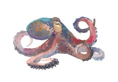 Octopus Illustration, Photo Illustration, Watercolor Illustration, Illustrations, Octopus Design, Free Vector Graphics, Abstract Watercolor, Animal Drawings, Art Sketches
