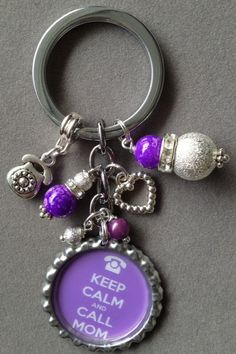 Keep Calm and CALL MOM bottle cap key chain by KeyChainBling, $16.00