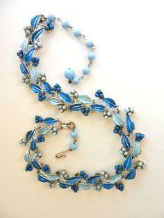 Lovely Vintage CORO Blue Leaves & Berries by RAKcreations on Etsy