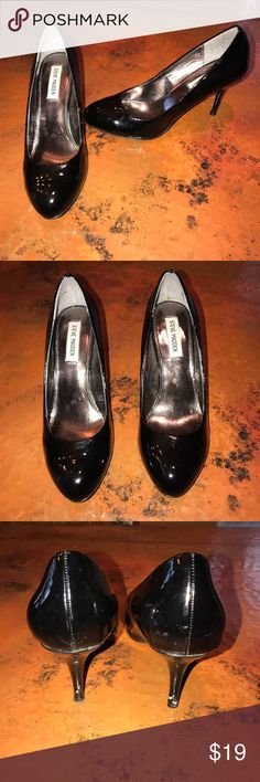 "Black Patent Leather Steve Madden Heels These are in great shape they are black with 3 "" heels.  There are a few scuffs on heels, see photo. 9 M Steve Madden Shoes Heels"