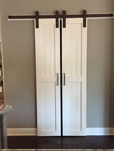 "I wanted to replace our bi-fold pantry door with something more ""country"" looking since our . how to build a pantry barn door closet doors shelving ideas . Tags : - June 27 2019 at Porte Diy, Barn Door Pantry, Sliding Barn Door For Closet, Barn Doors For Closets, Bi Fold Closet Doors, Kitchen Pantry Doors, Sliding Pantry Doors, Open Closets, Dream Closets"