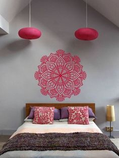 Cheap home decor, Buy Quality decoration pattern directly from China yoga stickers Suppliers: Pinturas Murais Big Mandala Vinyl Wall Decal Yoga Sticker Menhdi Lotus Large Pattern Ornament Om Indian Mural Home Decor Living Room Bedroom, Bedroom Wall, Bedroom Decor, Buddha Bedroom, Bedroom Ideas, Decor Room, Mural Wall Art, Wall Art Decor, My New Room