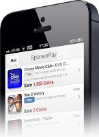 iphone showing a mobile game with offer wall. Sponsorpay is a provider of this high monetization format