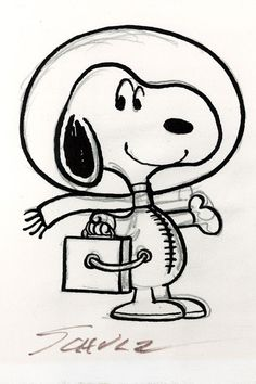 """Schulz drew Snoopy dressed as an astronaut who will be cast into a medal, the """"Silver Snoopy Award"""""""