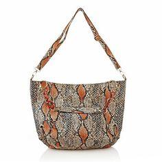 "BIG BUDDHA ""Belize"" Tangerine Snake Embossed Design Tote Handbag"