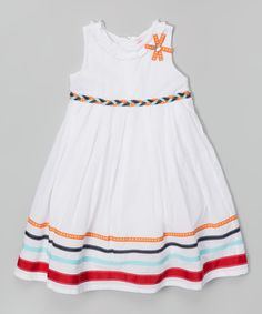 White Stripe A-Line Dress - Infant, Toddler & Girls | zulily