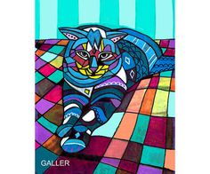 50% Off Code ACORN50 - Cat Art Poster Print of Painting Abstract Modern Colorful Quilt (HG264)