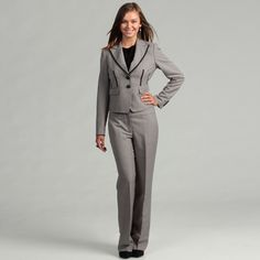 @Overstock - Add a classic flair to your wardrobe with this stylish pant suit from Nine West. Flattering pants with a banded waist and a long-sleeve jacket with faux waist pockets finish this pant suit.  http://www.overstock.com/Clothing-Shoes/Nine-West-Womens-Greystone-Two-piece-Pant-Suit/6575207/product.html?CID=214117 $75.99