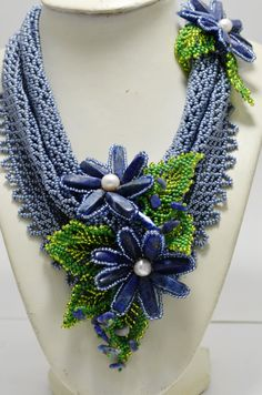 Gray and Blue Necklace Lapis Lazuli Beaded Flower Handwoven Necklace Gemstone Necklace Scarf Natural Stone Jewelry Blue Beaded Jewelry Beaded Statement Necklace, Seed Bead Necklace, Seed Bead Jewelry, Blue Necklace, Gemstone Necklace, Beaded Jewelry, Beaded Necklaces, Seed Beads, Fashion Jewelry Necklaces