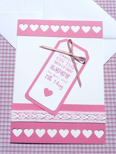 Personalised 'Hearts & Tag' New Baby Girl Card (Large) £5.50