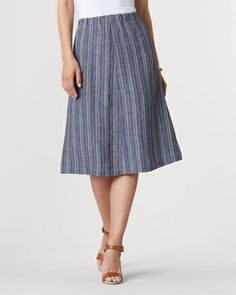 Easy linen stripe skirt - [K23572]