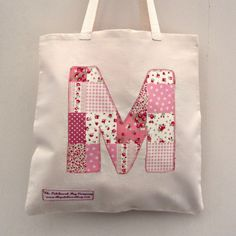 Alphabet initial tote bag   {Poppy and Petal}