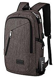 Business Laptop Backpack, Mancro 15 15.6 Inch College Backpacks w/ USB Charging Port, Anti-theft Lightweight Travel Bag for Women & Men, Fits UNDER 17 Laptop / Computer (Coffee)
