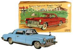 """1956 Linemar, Battery Operated Lincoln Continental Mark II (Factory Sample) Mint in Box & Unique. Best known example. Featured in many tin toy car books. (Value  = """"5"""" figures)"""