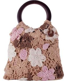purse, pink with brown