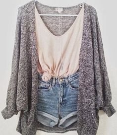 Spring Summer//Nude Knot Top, Grey Grain Cardigan, Denim Shorts