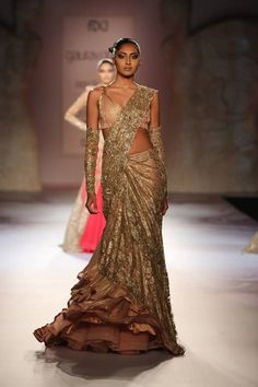 Gaurav Gupta at India Couture Week 2014 - gold flared layered lehenga