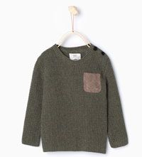 Knit sweater with suedette pocket-Jackets, Cardigans and Sweaters-Baby boy (3 months - 3 years)-KIDS | ZARA United States