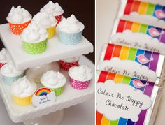 """A darling rainbow 4th birthday... loving the """"marshmallow"""" detail mimicking clouds!"""