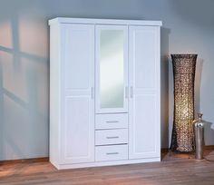 Armoire blanche adulte 3 portes dont 1 miroir et 3 tiroirs