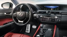 Interior shot of the 2017 Lexus GS F shown with Circuit Red leather trim.