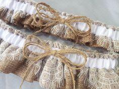 Burlap Wedding Bridal Garter Set Chantilly Lace Twine by Allofyou