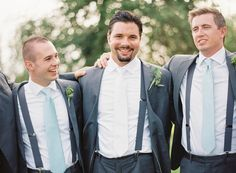 Guys always need…a little extra help, right? If you want your groomsmen to match their ties, vests, or pocket squares to your bridesmaid dresses, make sure they have a swatch with them when they order their accessories.