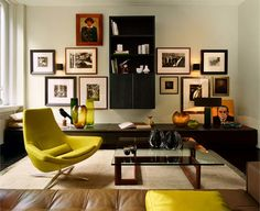 The idea of a sleek retro style is to give the room a floating feeling... Notice the bookshelf mounted to the wall.