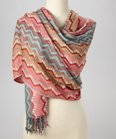 Pink & Brown Chevron Cashmere-Blend Scarf #zulily #zulilyfinds