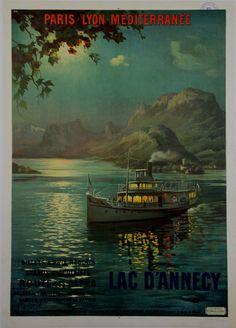 Affiche Lac D'Annecy - France - illustration de Francois Charles Cachoud - 1900 -