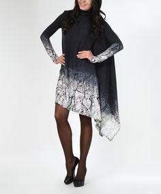 Look at this #zulilyfind! Lemon Gray & Black Abstract Asymmetric-Hem Shift Dress - Plus Too by Lemon #zulilyfinds
