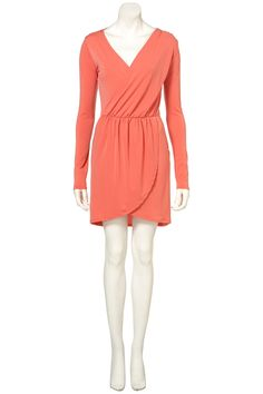 Top Shop > Moss Crepe Drape Dress.  #longsleeve #coral