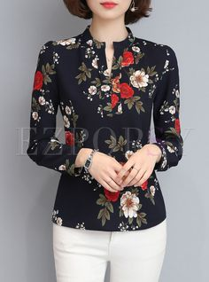 Shop for high quality Brief Print V-neck Long Sleeve Blouse online at cheap prices and discover fashion at Ezpopsy.com